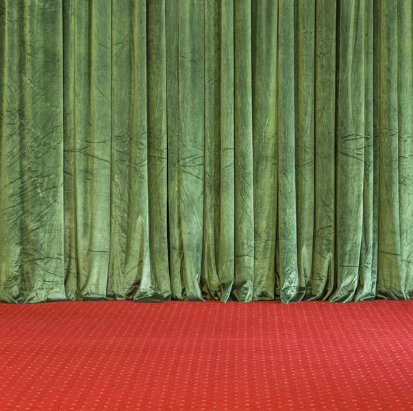 Green velvet theater curtain