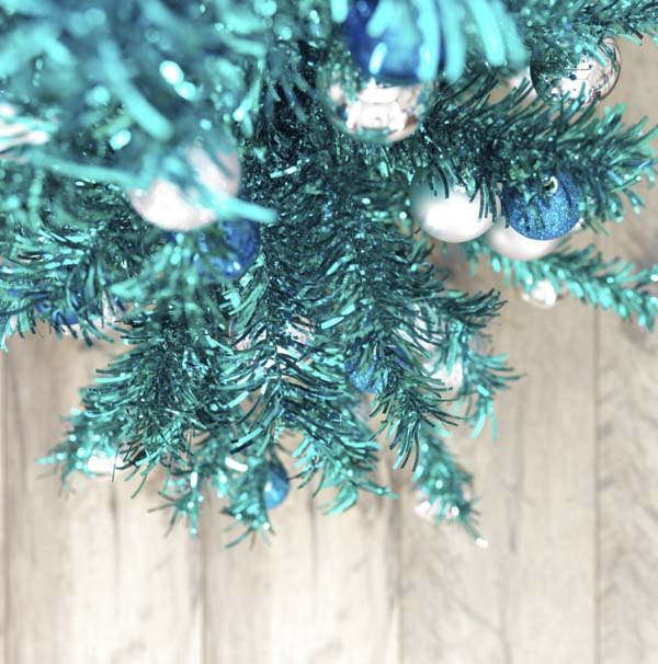 Looking down from top of vintage tinsel Christmas tree