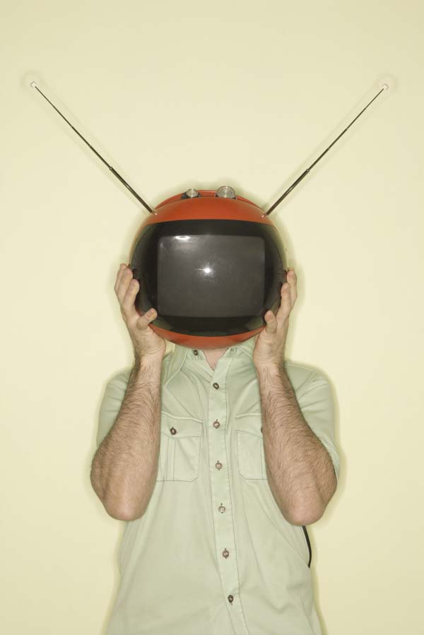 Man with retro television antenna