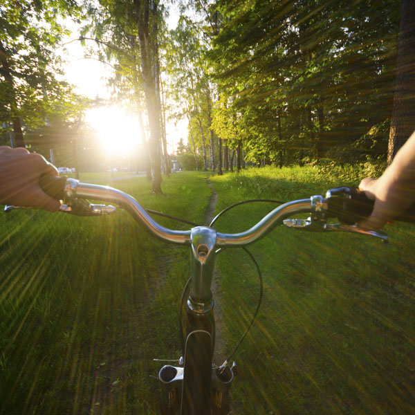 Pedaling bicycle at breakneck speed