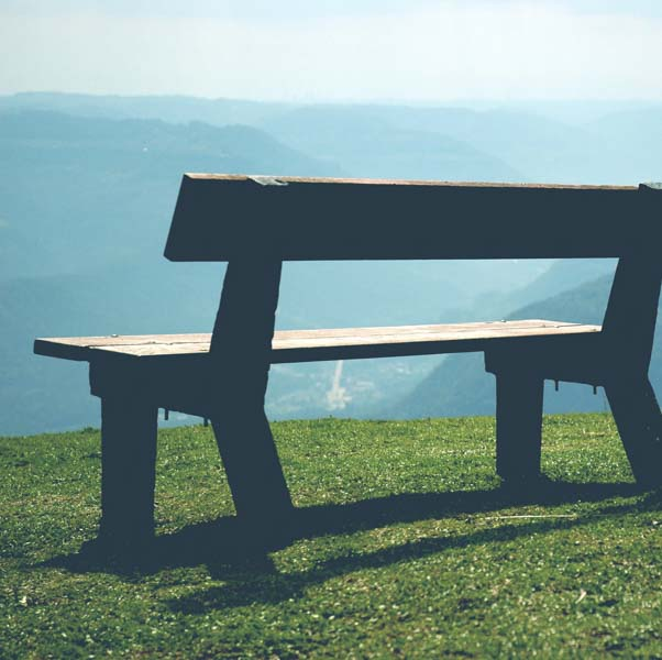 Bench on the top of the mountain