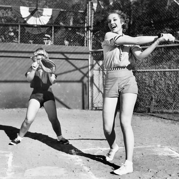 Vintage woman playing baseball