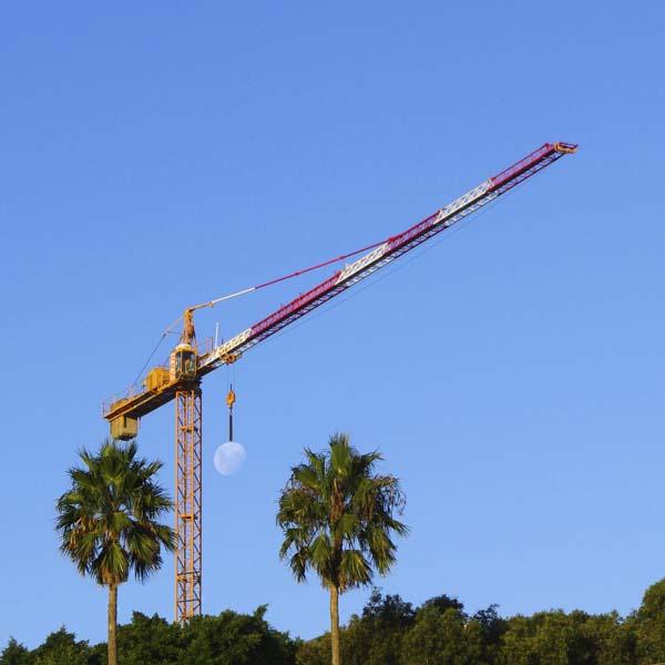 Crane holding moon