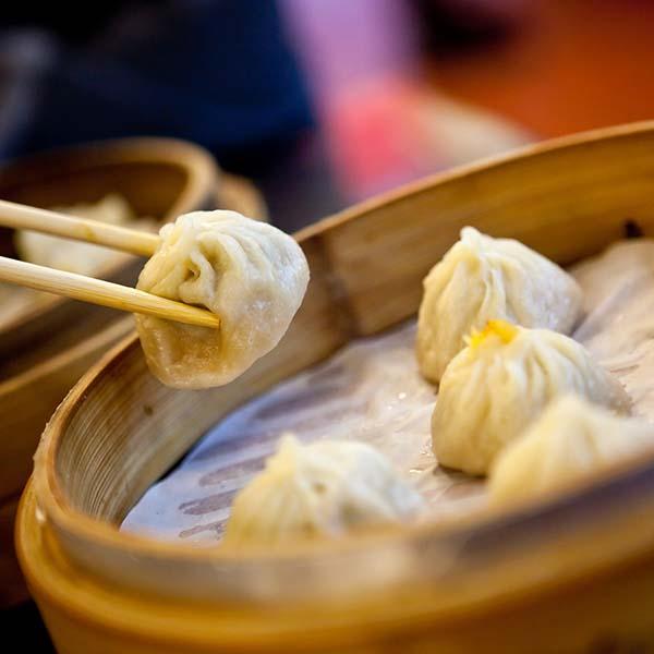 Dim sum in a bamboo steamer