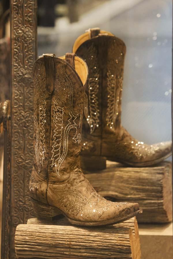 Rhinestone-studded boots