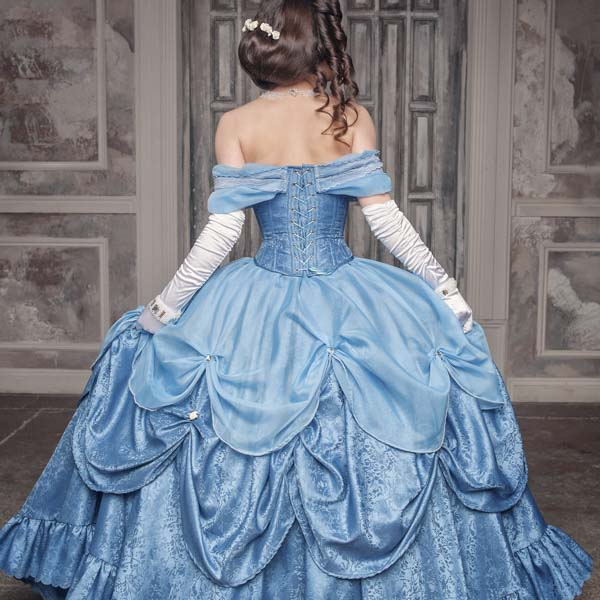 Woman in crinoline and gown