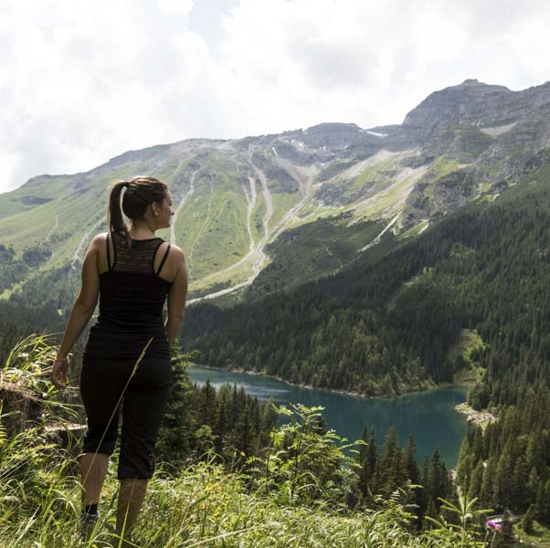 Woman trekking in a mountain