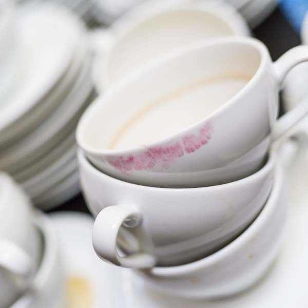 Stacked of empty coffee cups