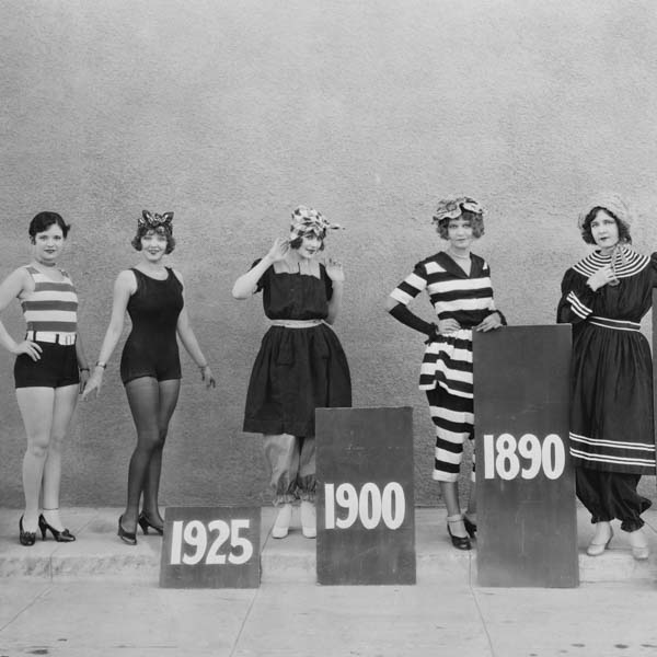 Evolution of swimwear from Victorian era to 20s