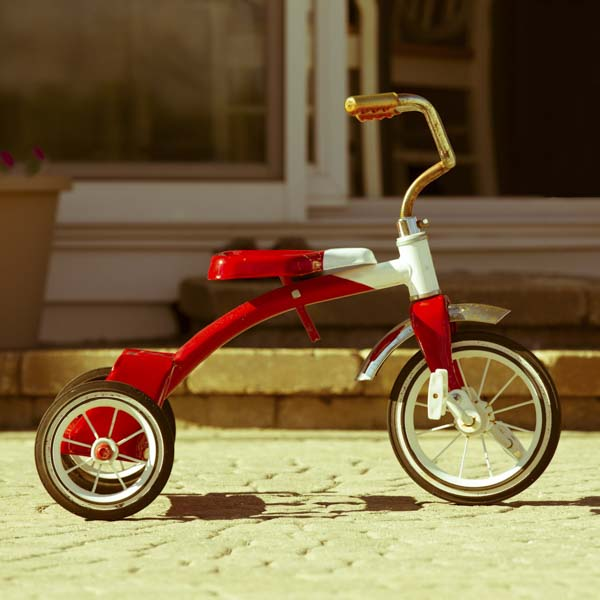Red and white tricycle