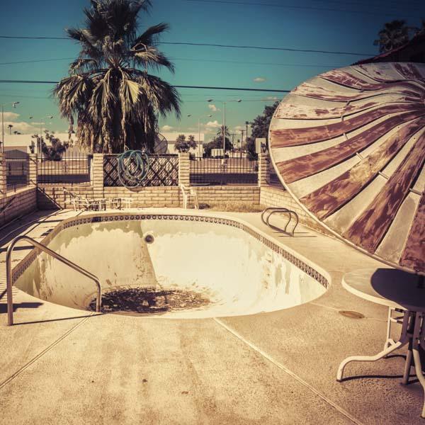 Empty pool in desert