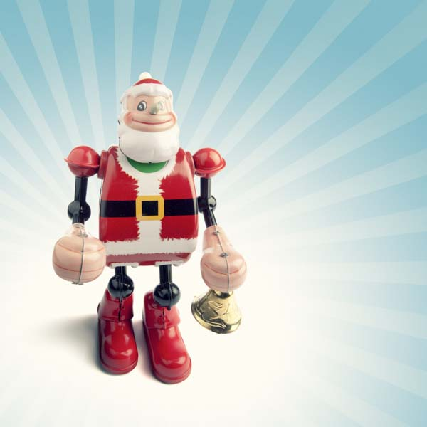 Robot Santa ringing in the holiday season