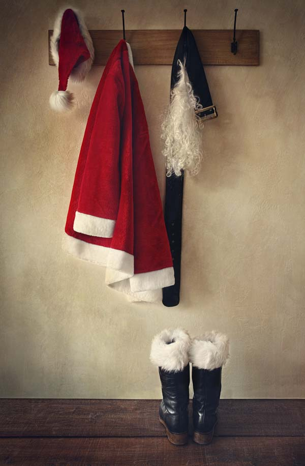 Santa hanging up his uniform