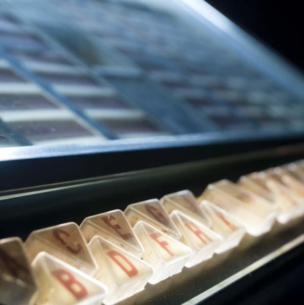 Close up of jukebox