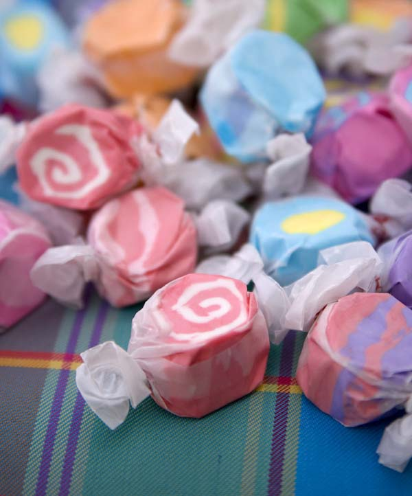 Salt water taffy wrapped in wax paper