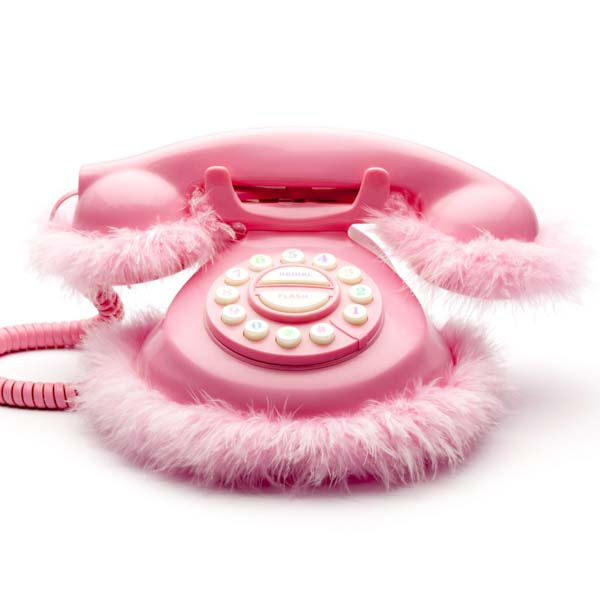 Pink princess phone with fur