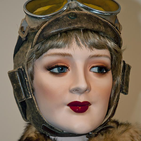 Female mannequin dressed as a vintage pilot