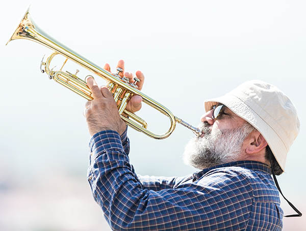 A man playing trumpet