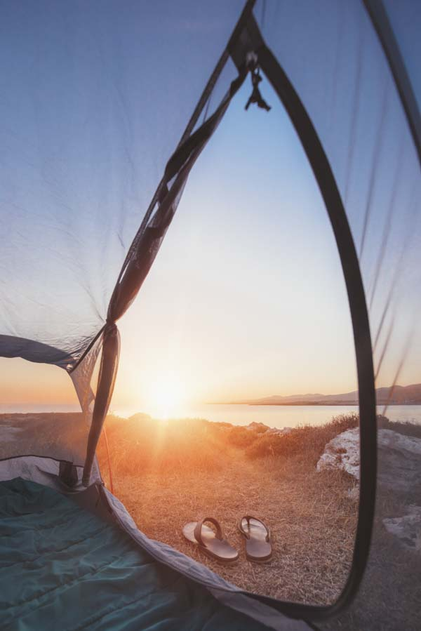 Tent open to sunset