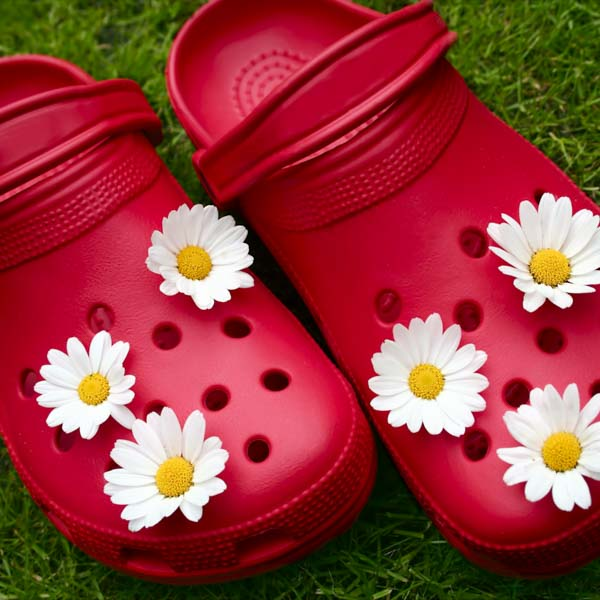 Red poppy-colored crocs with flowers