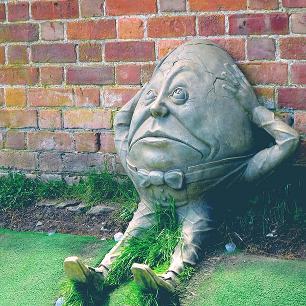 Humpty Dumpty concrete sculpture