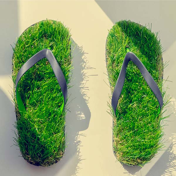 Grass on rubber slippers