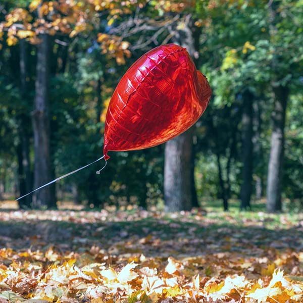 Heart-shaped helium balloon floating in park