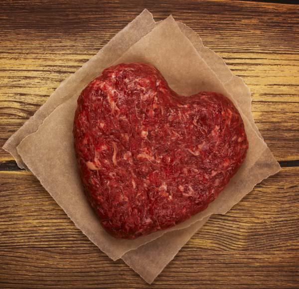 Heart shaped hamburger patty