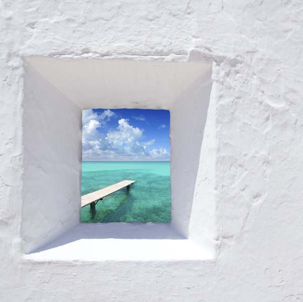 Narrow window with view of beautiful ocean