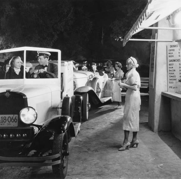 Vintage drive-thru fast food restaurant