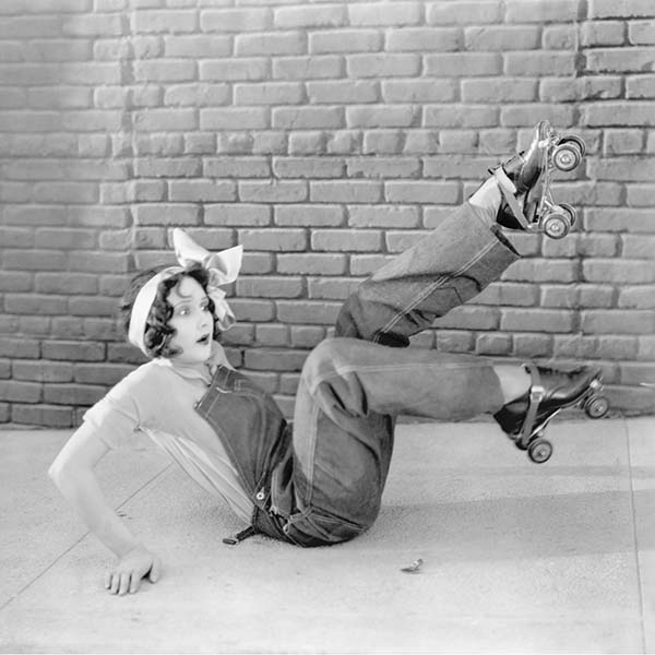 Vintage photo of woman on roller skates