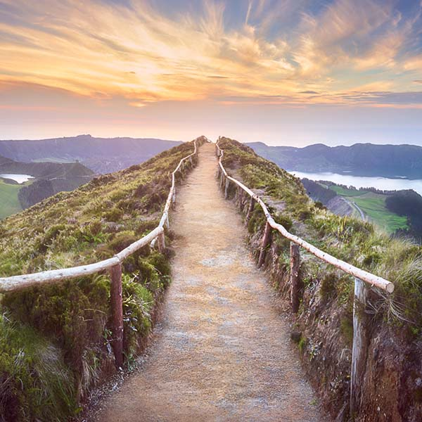 Walking path to the top of mountain