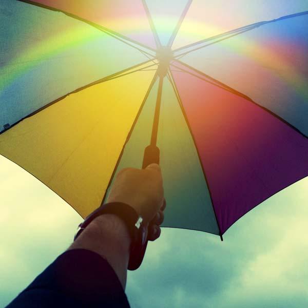 Rainbow umbrella and rainbow