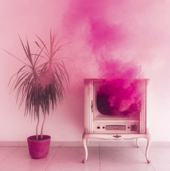 Television amid a pink cloud