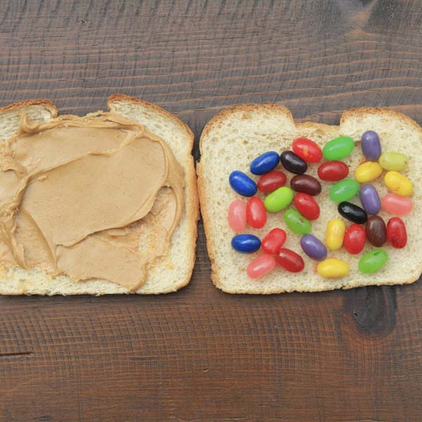 Peanut butter and jelly bean sandwich