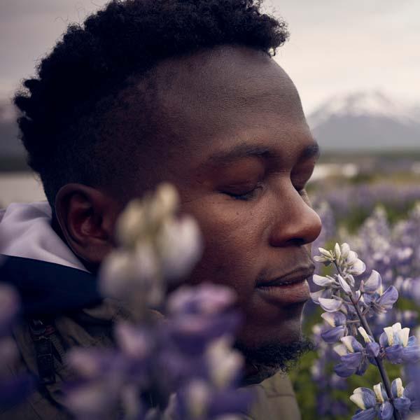 Man in lavender field