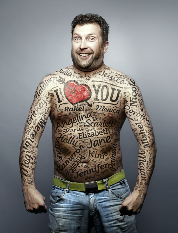 Funny man tattooed with women's names