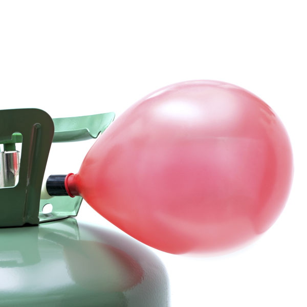 Helium tank filling balloon