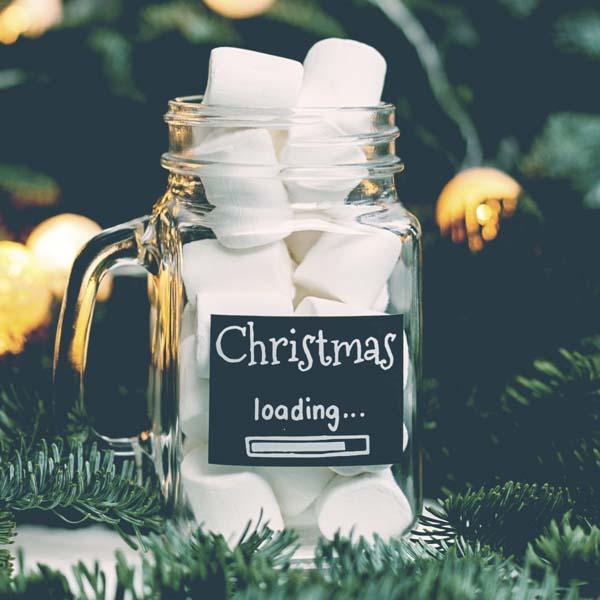 Christmas loading mug of marshmallows