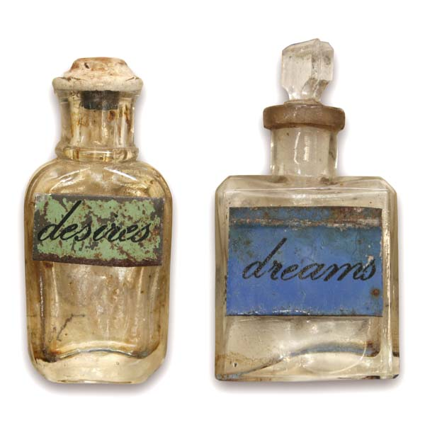 Vintage bottles of desires and dreams
