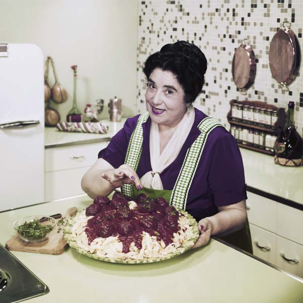 Vintage image of mother making pasta