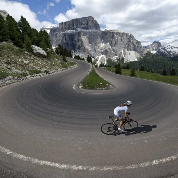 Bike ride on switchback mountain path