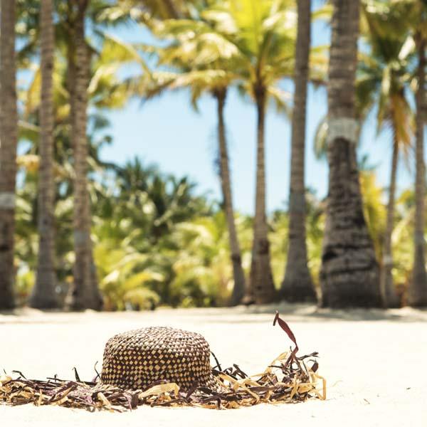 Beach hat on tropical beach