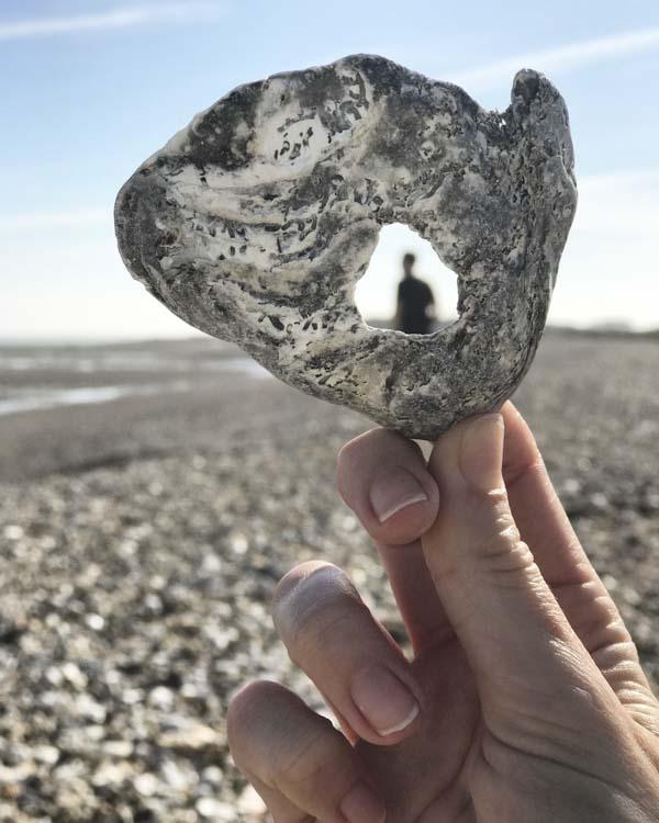 Spying a shadow through a rock