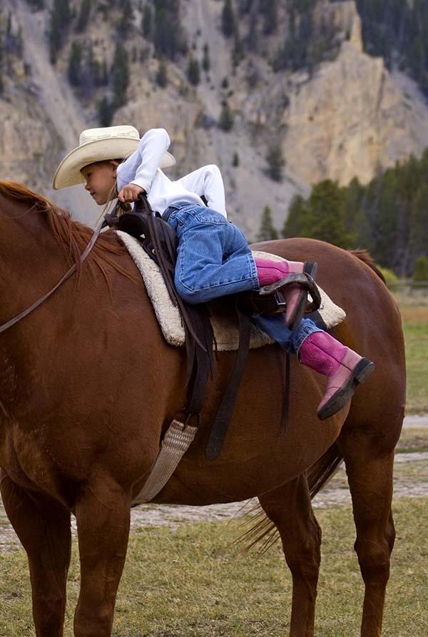 Little girl climbing tall horse