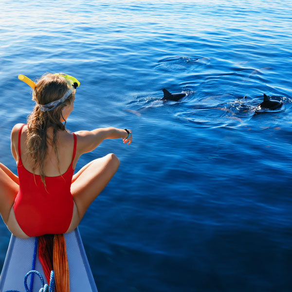 Woman on boat pointing at dolphins