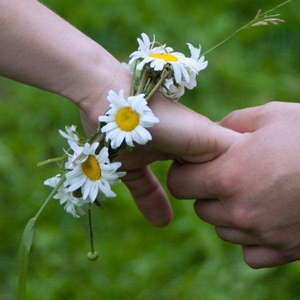 Hand holding daisy wrapped hand