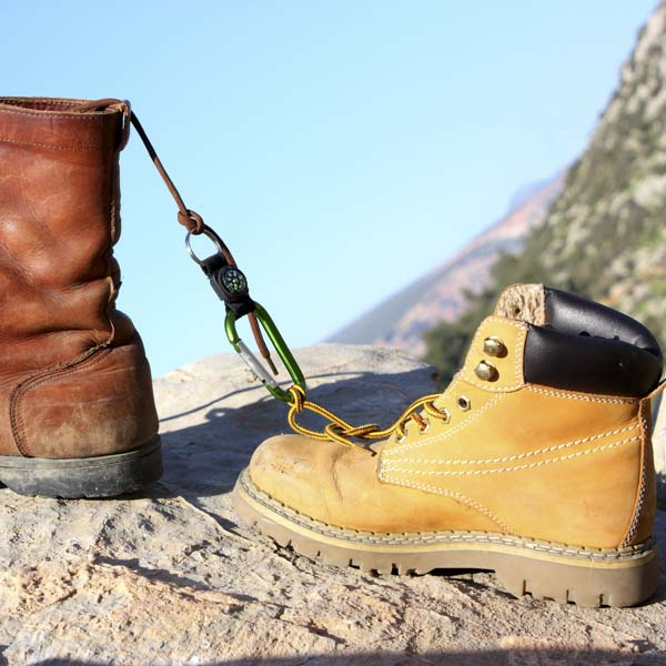 Hiking boots connected