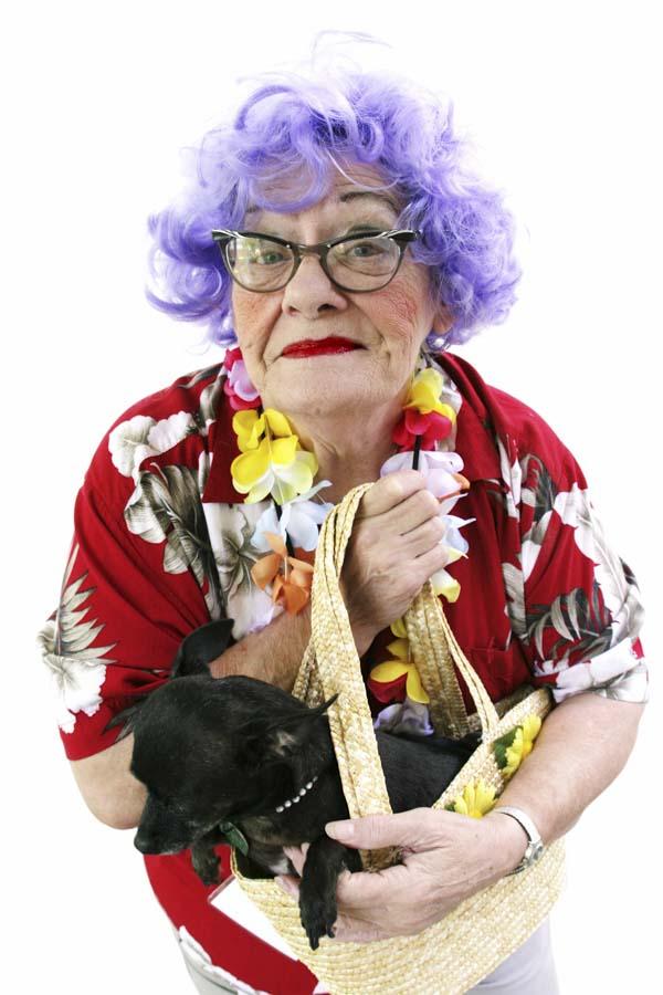 Senior woman dressed for hula