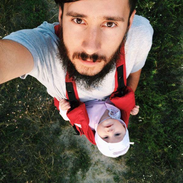 Dad and daughter looking up